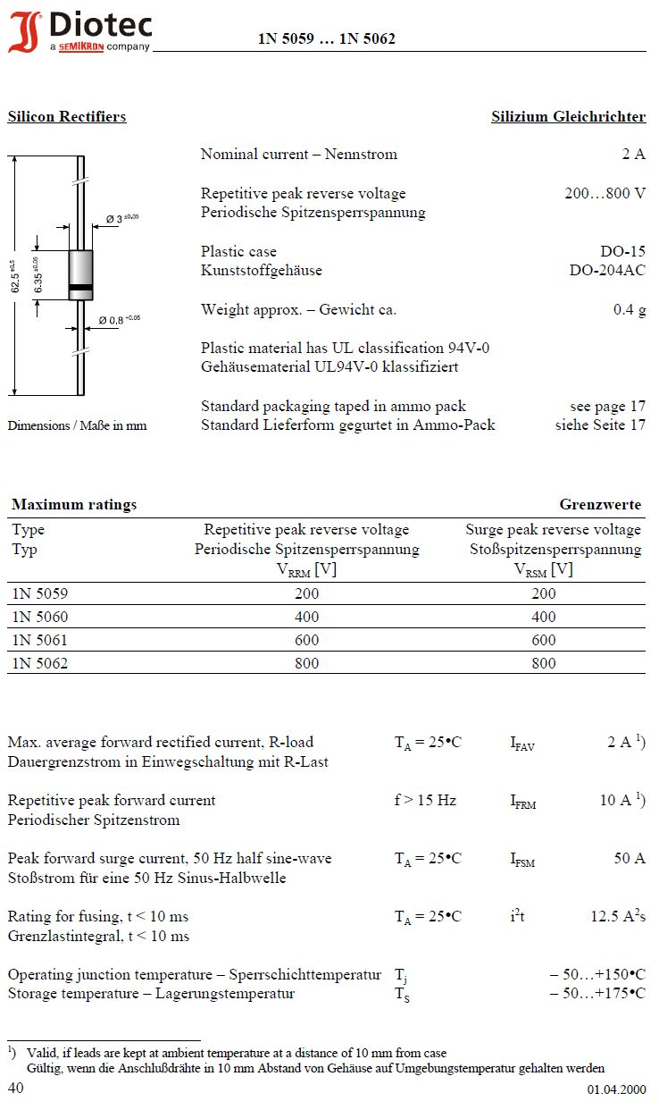 Dióda 600V 2A (Peak: 50A, 50Hz) 1N5061 1N5061 -