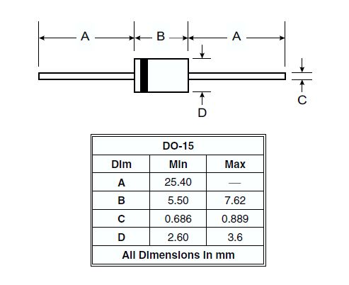 Dióda 500V 1.5A/50Ap 2uS Vf:1.1V 1N5396 1N5396 -