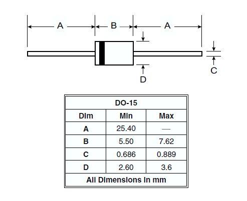 SI-D 1000V 1.5A/50Ap 2uS Vf:1.1V 1N5399 -
