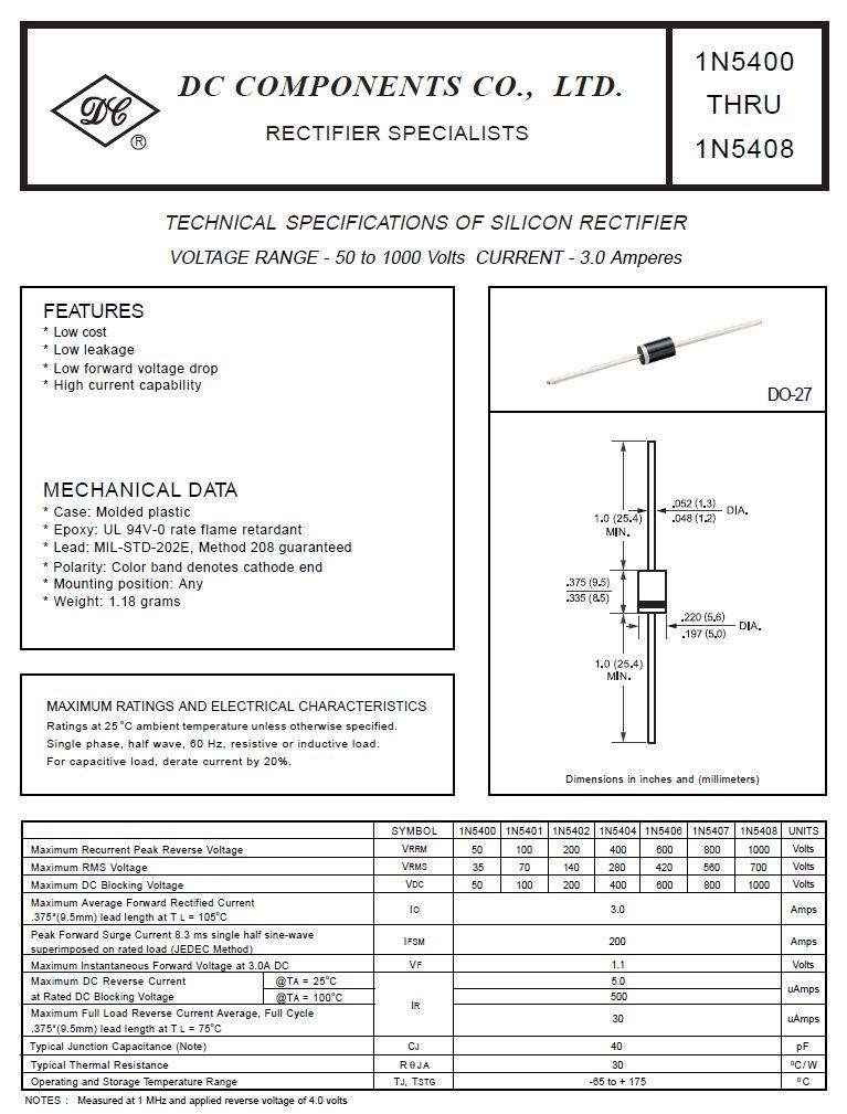 Dióda 600V 3A/200Ap 5uS (hajtva15mm) 1N5406H 1N5406H -