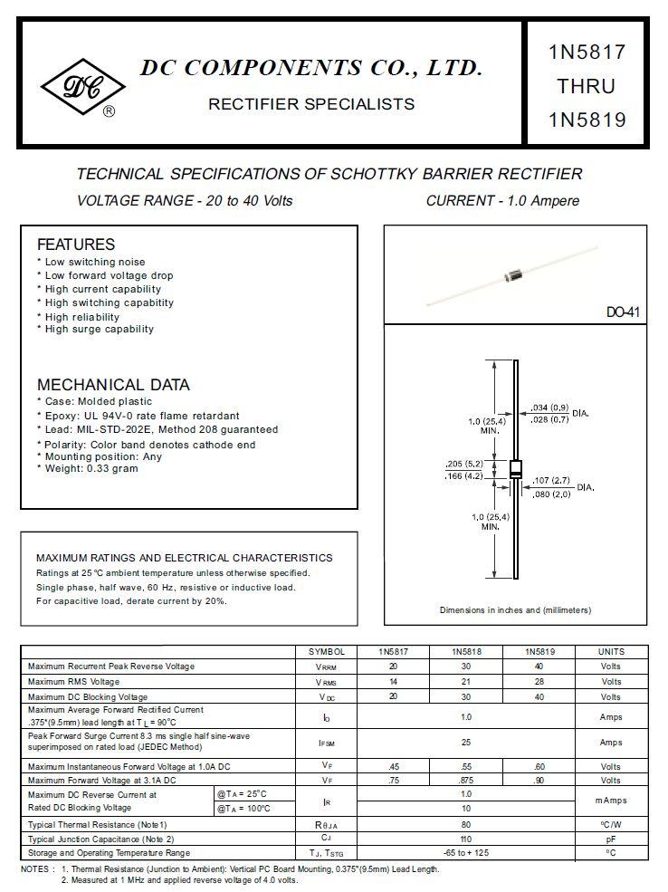 SB-D SCHOTTKY 40V 1A/25Ap Uf:0.6V 1N5819 -