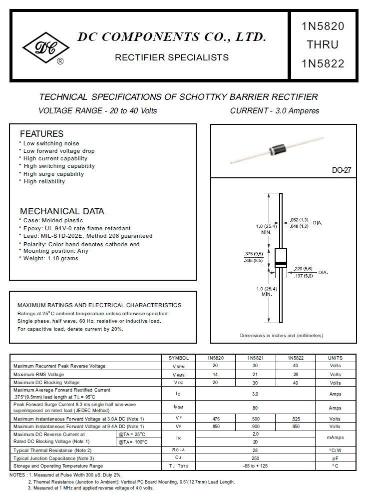 SB-D SCHOTTKY 40V 3A/80Ap Uf:0.53V 1N5822 -
