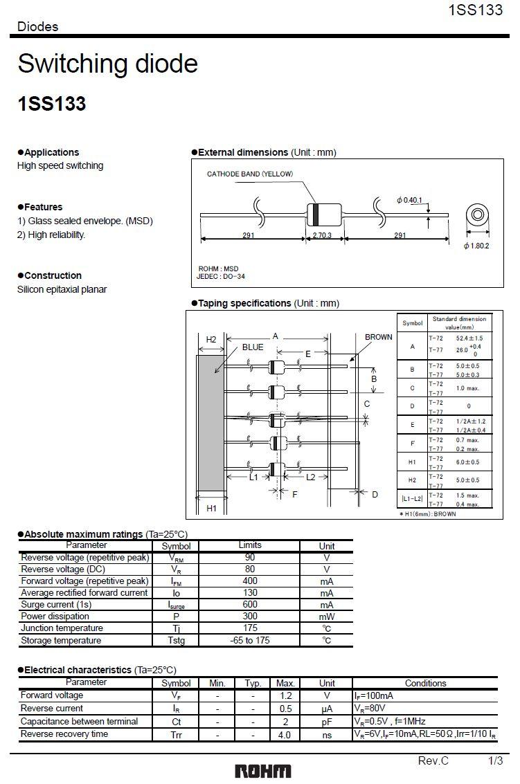 SI-D 80V 0.13A/0.4App <4nS SS 1SS133 -