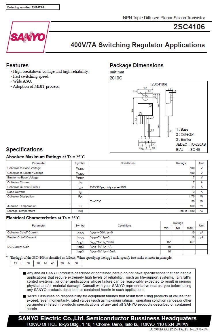 Tranzisztor NPN 500/400V 7A 50W 20MHz TO220 2SC4106 2SC4106