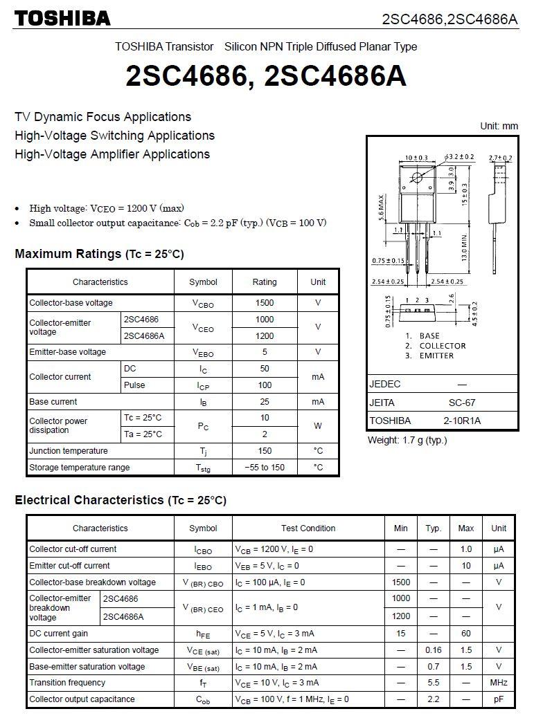 Tranzisztor NPN 1500/1200V 50mA 10W 5.5MHz 2SC4686A 2SC4686A