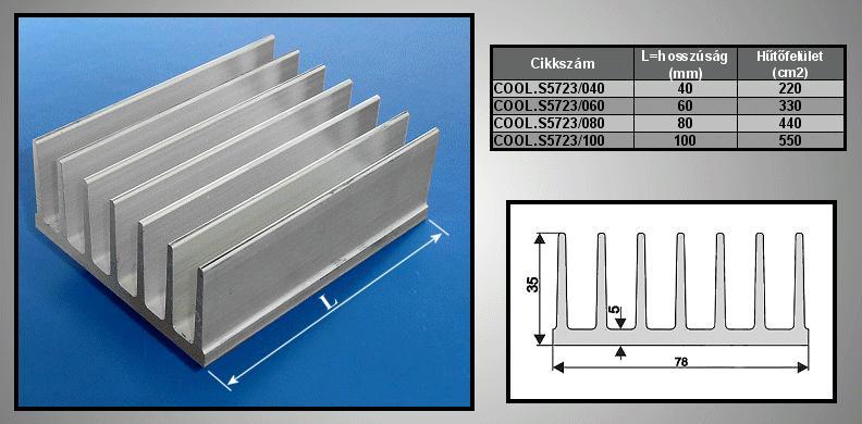 Hűtőborda 330cm2 78x35x60mm COOL.S5723/060