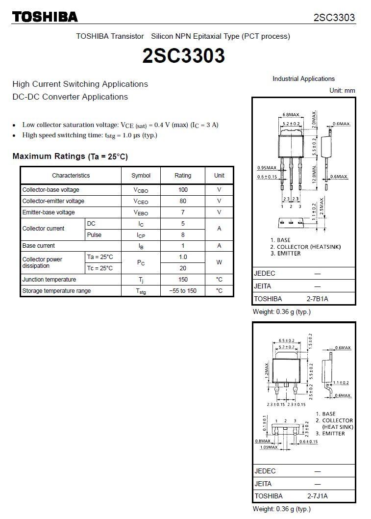 Tranzisztor NPN 100/80V 5A/8Ap 20W 120MHz SMD 2SC3303L 2SC3303L -