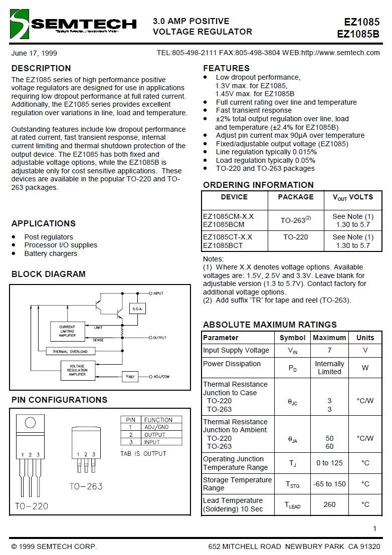 POS.V-REG 1,2..5V 3A TO220 3p EZ1085CT