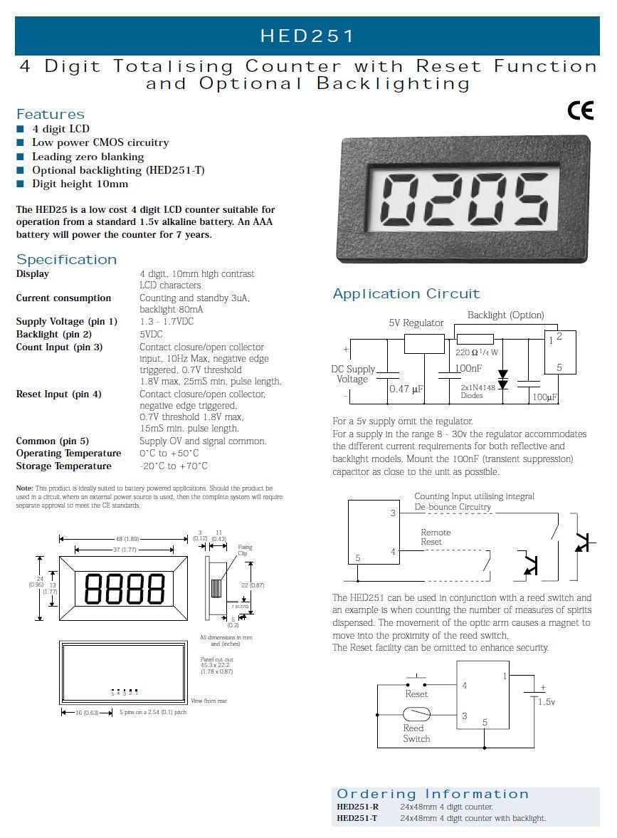 4-Digit LCD Modul Impulzus számláló világítással LCD HED251-T