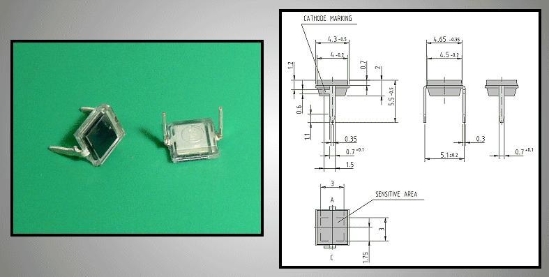 INFRARED PHOTO PIN dióda 4,3x4,65mm BPW34