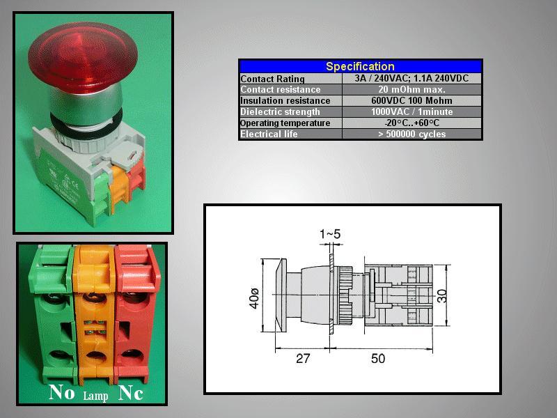 22mm-es biztonsági kapcsoló világító PIROS SW6001/R