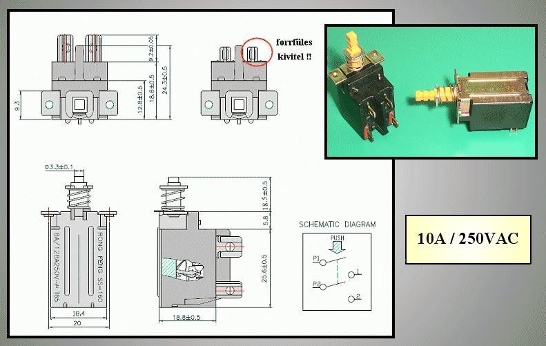 Hálózati főkapcsoló: 8A 250VAC TV-5 SW0461