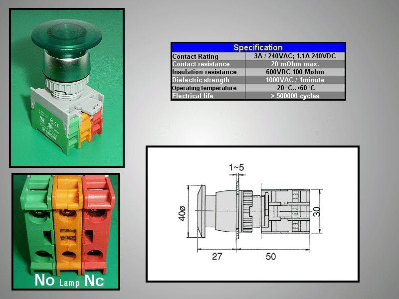 22mm-es biztonsági kapcsoló világító ZÖLD SW6001/G