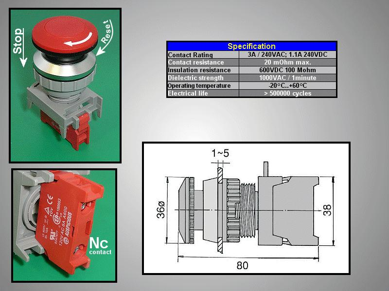 36mm-es biztonsági kapcsoló reteszelt PIROS SW6002R/R