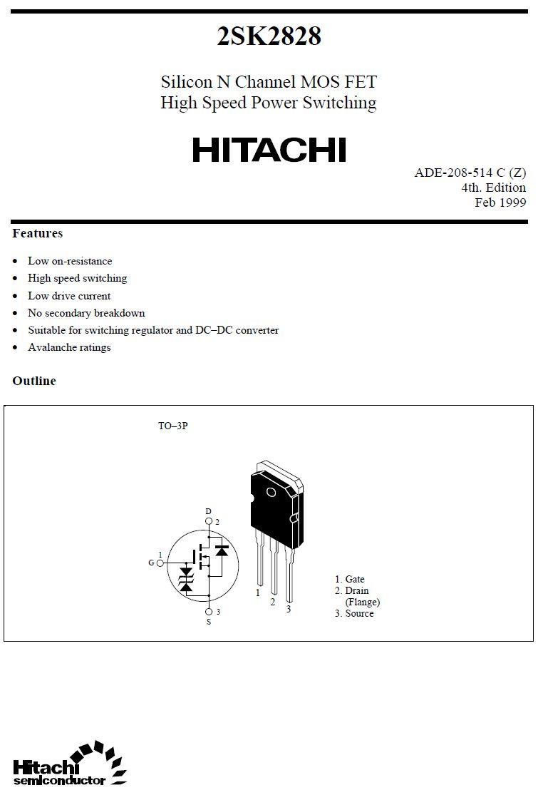 Tranzisztor N-MOSFET+Z 700V 12A IDp:48A 175W 0.9R 2SK2828 2SK2828 -