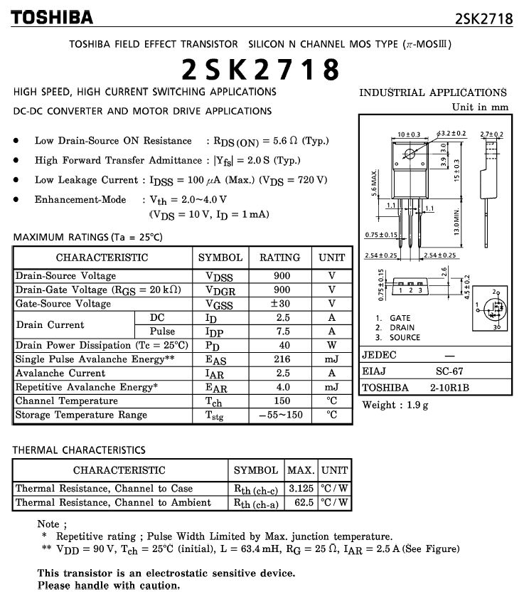 Tranzisztor N-MOSFET+Z 900V 2.5A/7.5App 40W 5.6R 2SK2718 2SK2718 -