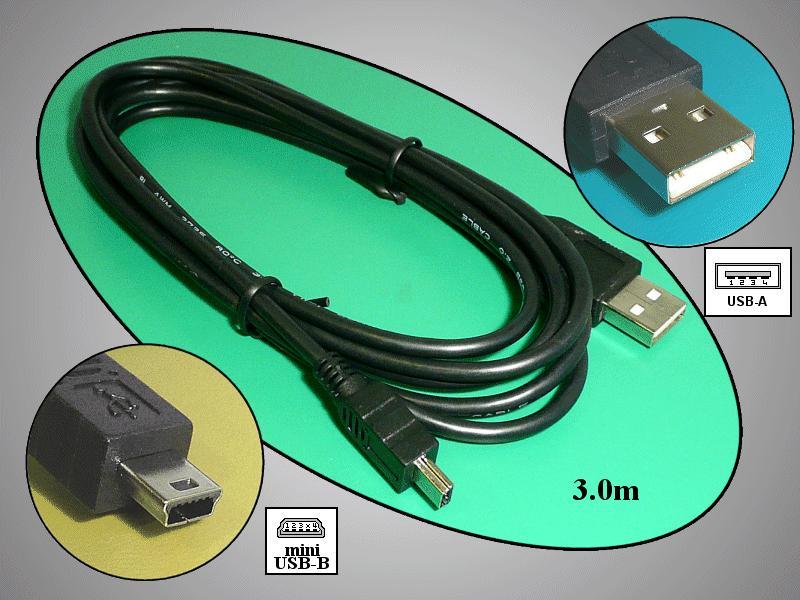 USB-A dugó < 3m kábel, fekete > USB-B mini 5p. dugó CABLE USB-USB2B