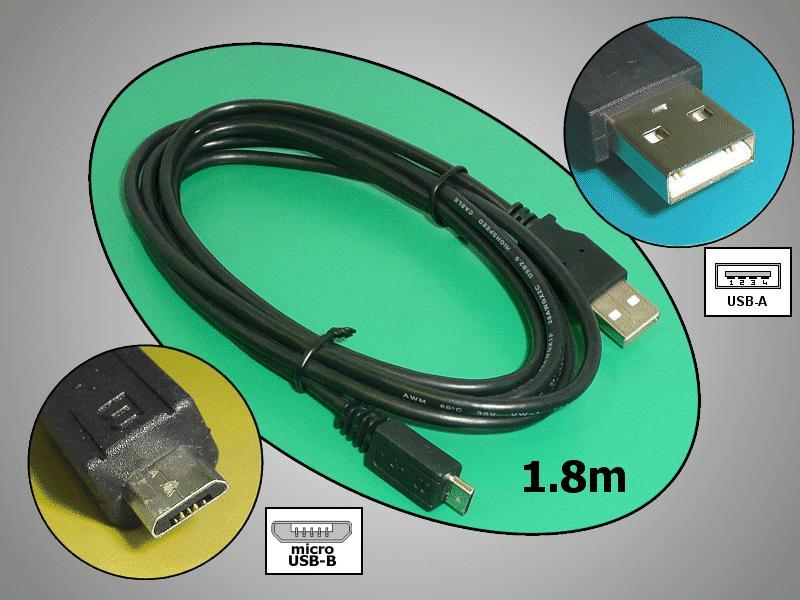 USB2.0-A dugó - USB-B mikro dugó, kábel 1.8m, fekete CABLE USB-MICBA1.8
