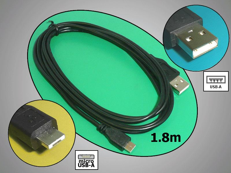 USB2.0 A dugó <-> USB-A mikro dugó 1.8m CABLE USB-MICAA