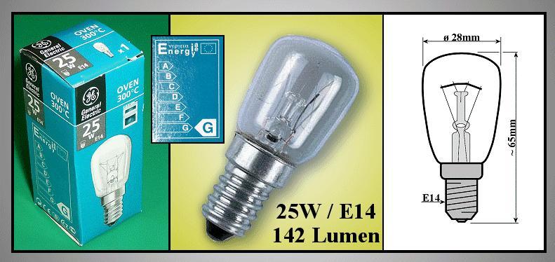 LAMP E14 25W 240V +300°C MW-LAMP 160