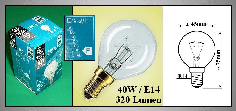 LAMP E14 40W 230V +300°C MW-LAMP 171