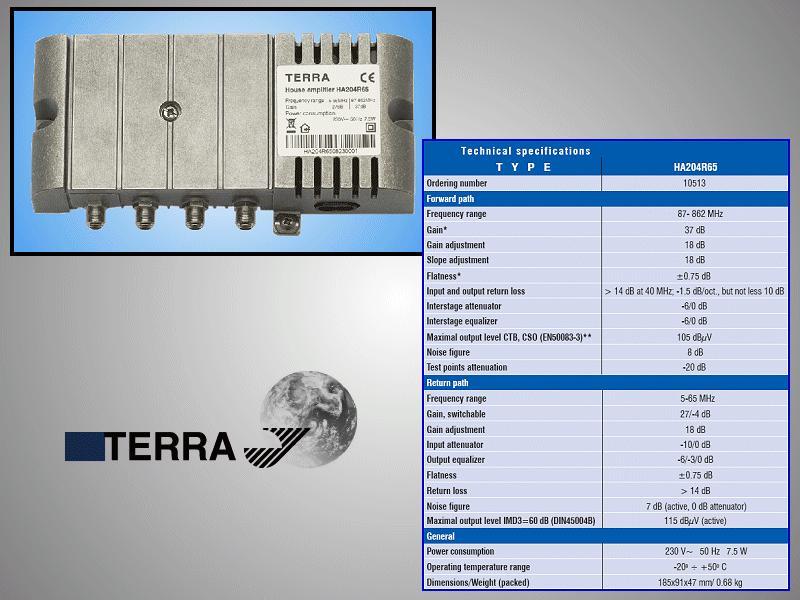 Antenna erősítő 5-65MHz < 27dB ,87-862Mhz <37dB ANT AMP HA204R6
