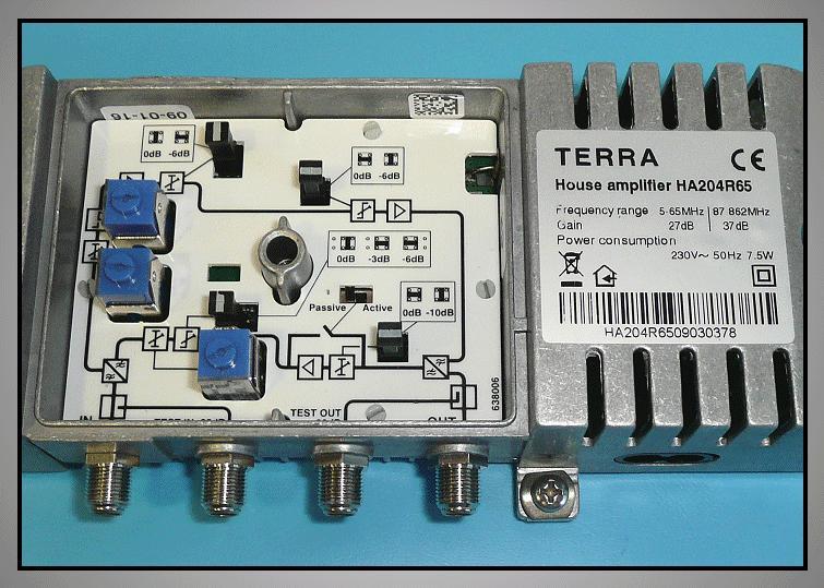 Antenna erősítő 5-65MHz < 27dB ,87-862Mhz <37dB ANT AMP HA204R6 -