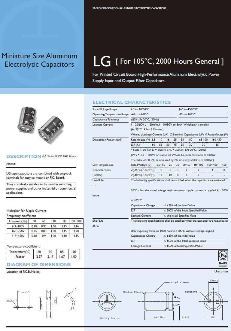 ELKO 220uF 450V 105°C 30x40 Snap-in 220/450P-105 Y