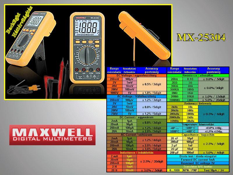 4Digit LCD Digital multimeter, 11-funkció M.M-MX-25304