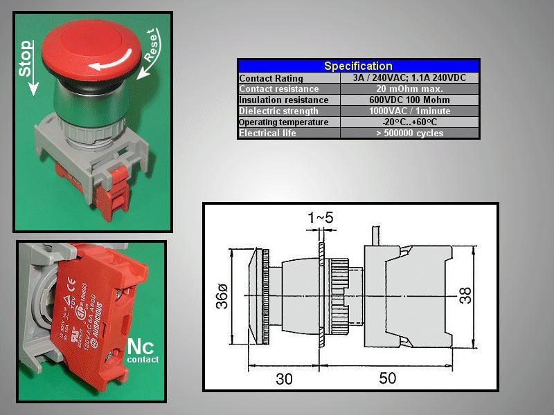 22mm-es biztonsági kapcsoló reteszelt PIROS SW6001R/R