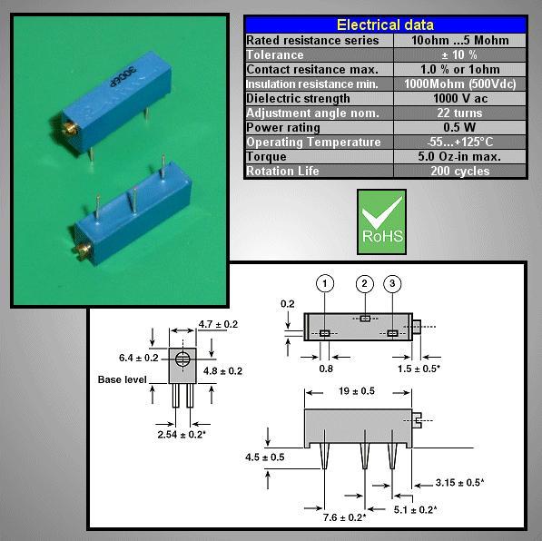 CERMET 100K TRIMMER 19mm 22TRN CERM 100K/19A