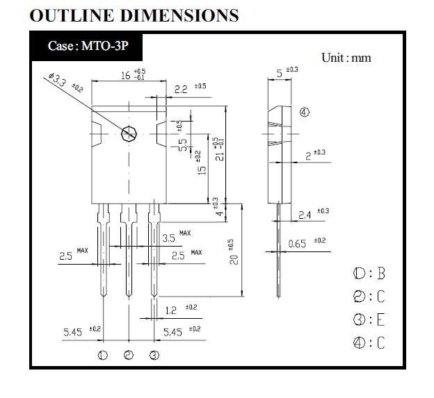 Tranzisztor NPN 1200/800V 3A 80W 8MHz 2SC4235 2SC4235 -
