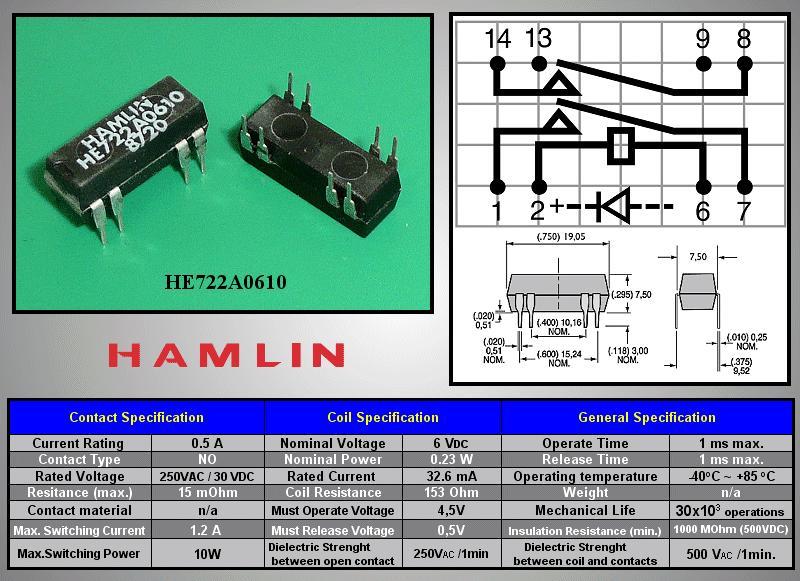 REED 6VDC DPST-NO 2x250VAC/0,5A DIP relé 8p. RELAY-HE722A0610