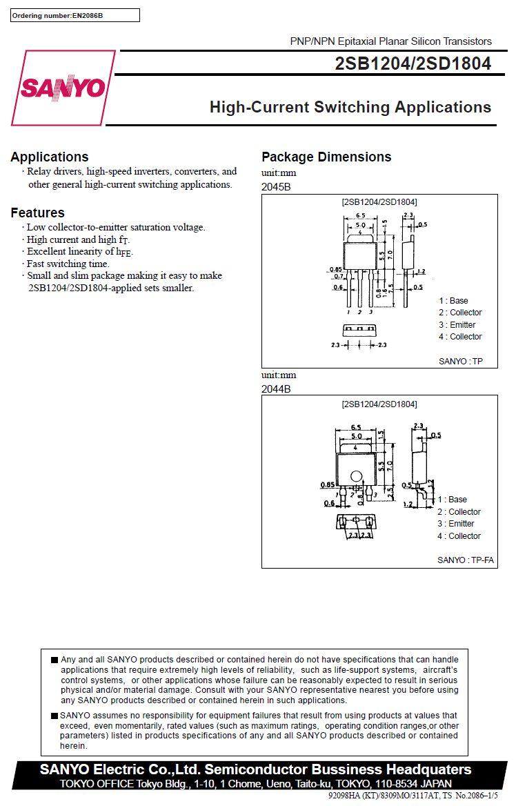 Tranzisztor NPN SMD 60V 8A/12Ap 20W 180MHz TP-FA 2SD1804 2SD1804 -