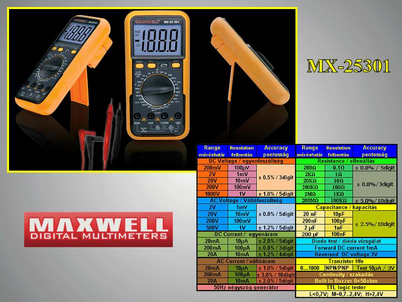 3.5Digit LCD Digital multimeter, 8-funkció M.M-MX-25301