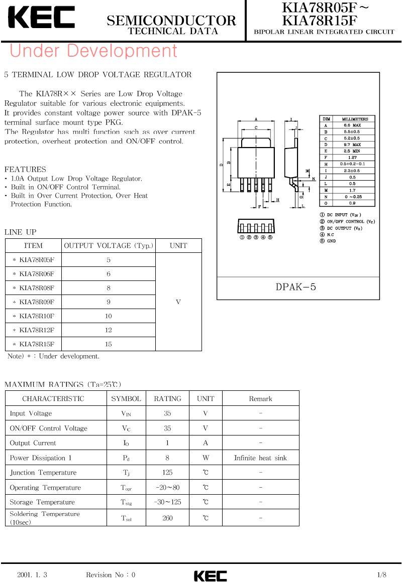 POS.V-REG 5V 1A 2% 5p. D-PAK KIA78R05F