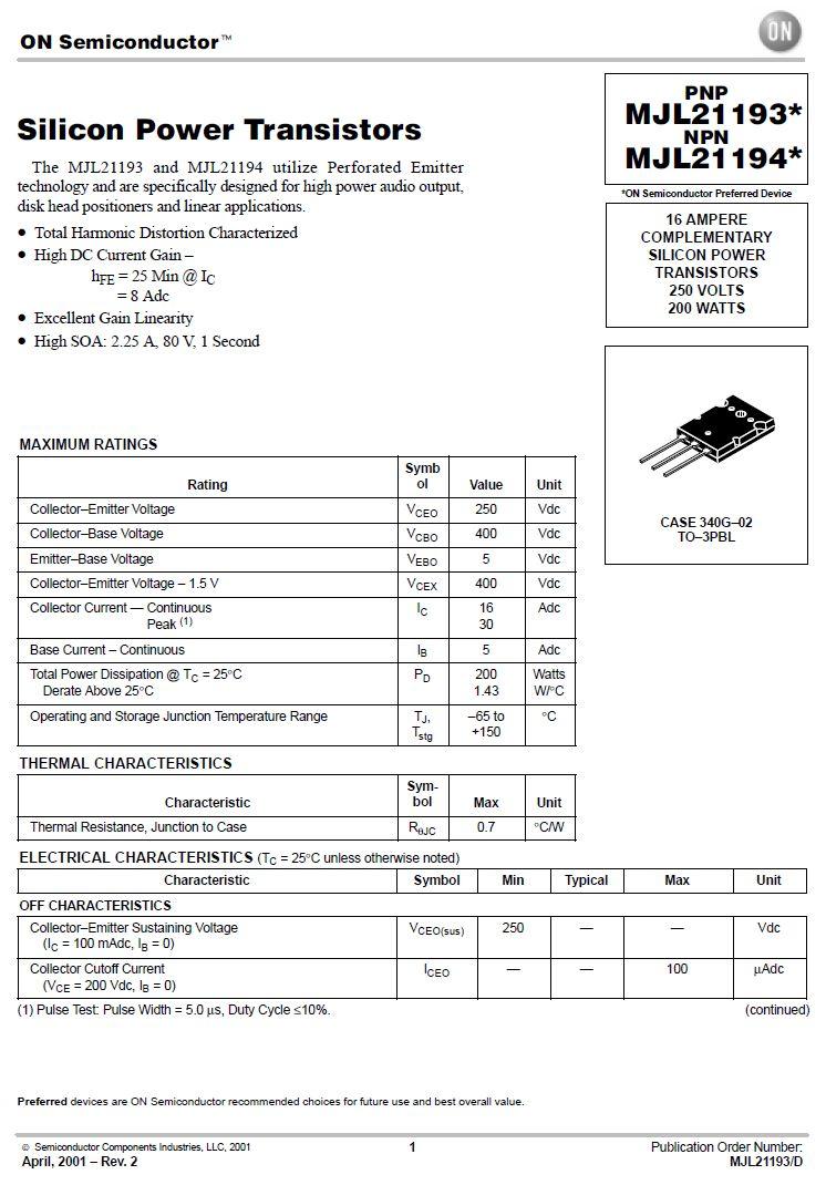 Tranzisztor NPN 250/400V 16A 200W >4MHz TO264 MJL21194 MJL21194 -