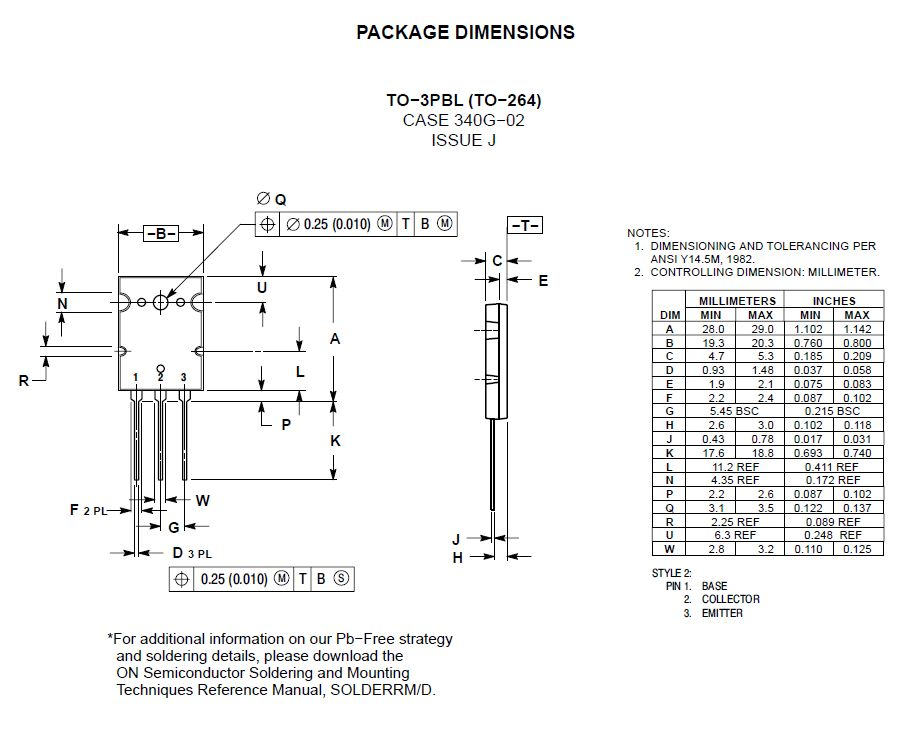SI-P 250/400V 16A 200W >4MHz TO264 MJL21195 -