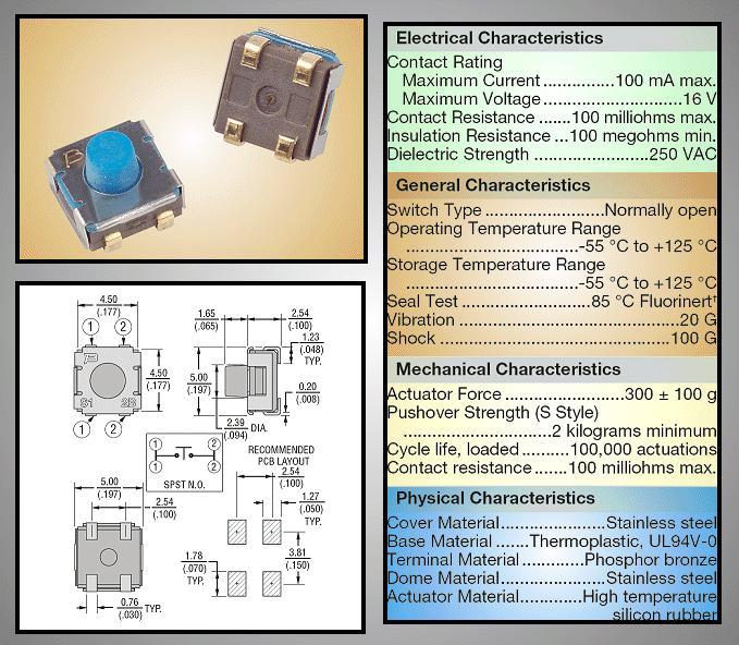 SMD mikrokapcsoló 5x5mm 4p gomb:1.65mm SW1000S50A -