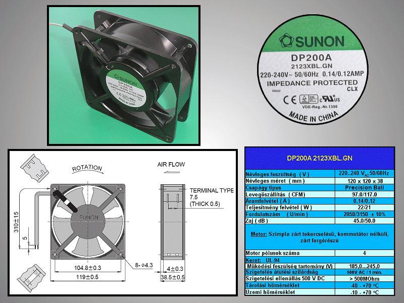 230V ventilátor 120x120x38mm DP200A2123XBL.GN CY 230/12038CSX