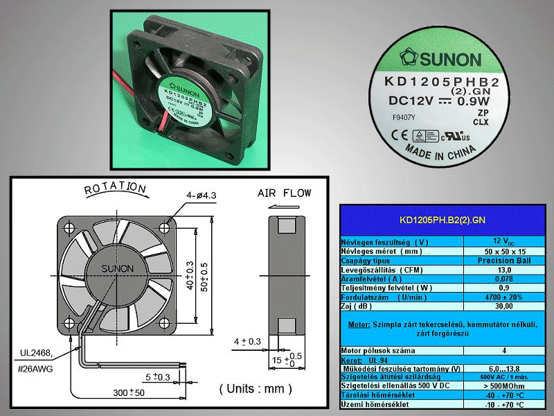 12V ventilátor 50x50x15 KD1205PHB2.GN CY 5015/12-B2