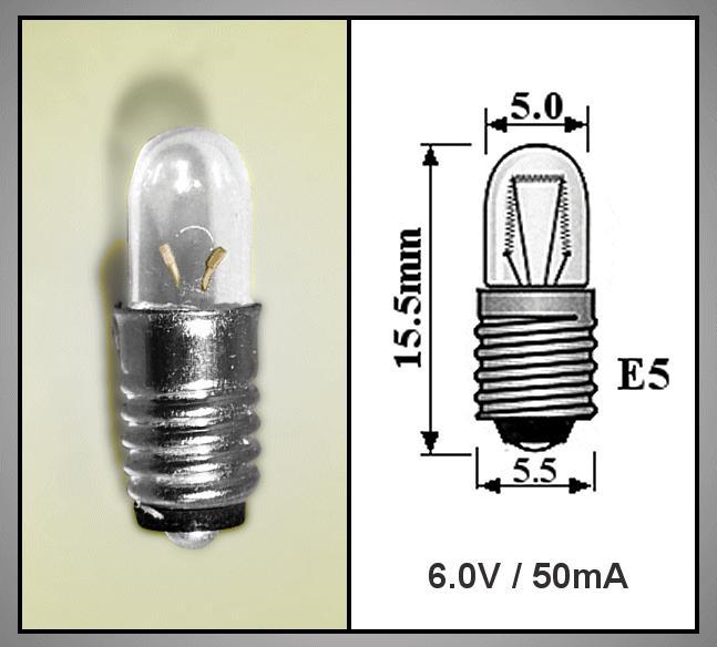 Izzó 6V 50mA MIDGET SCREW E5.5 LAMP6.0V/50MIS