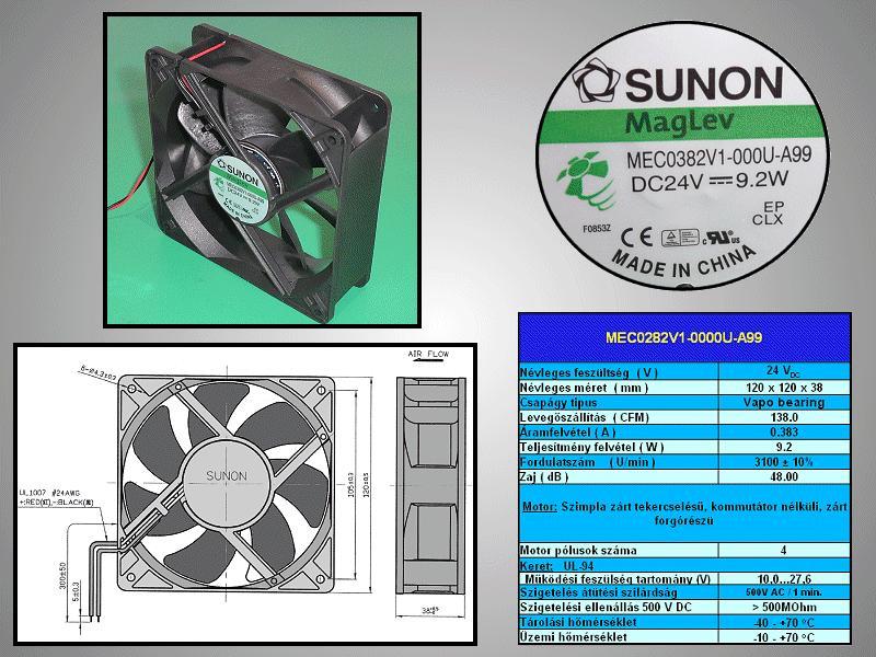 24V ventilátor 120x120x38 MEC0382V1-A99 CY12038/24V1-A99