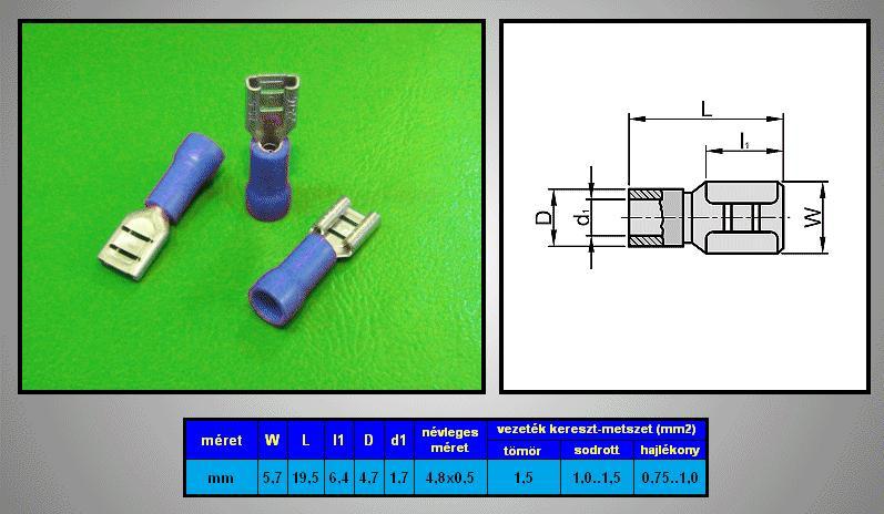 Kábelsaru 4.8/0.8 hüvely 0.5-1.0mm2 kék CS-K1480810/B