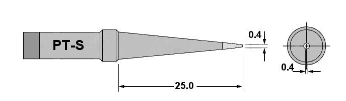 Forrasztópáka hegy WTCP CON. 25mm 0.4mm 370* WEL.7PT-S