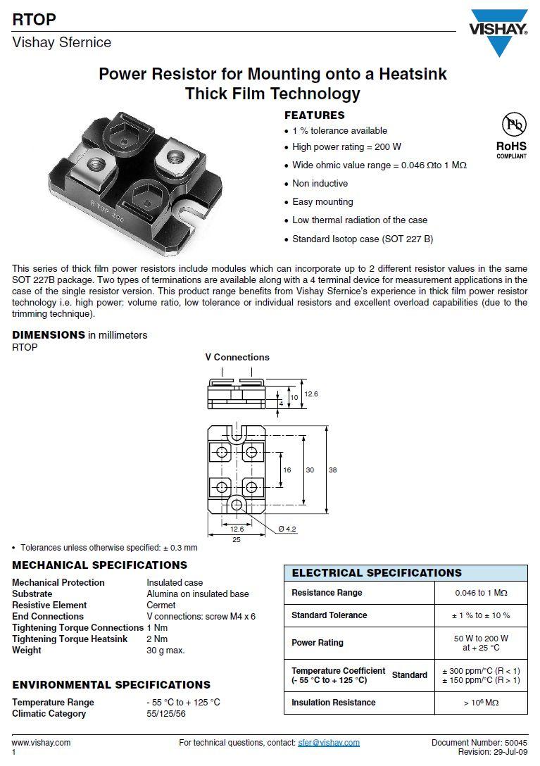 100W 200R 1% Indukció mentes ellenállás RTOP100V2000FB