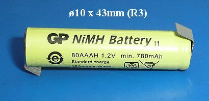 Ni-MH 1.2V 780mAh akkumulátor 10x43mm ACCU-1.2/800AAA