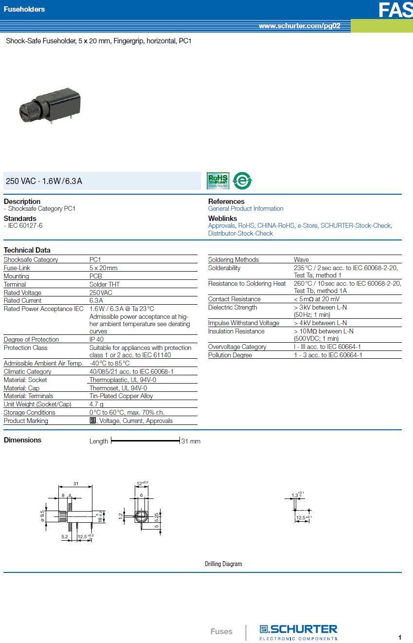 Biztosíték tartó 5x20mm 250V 6,3A PCB ZH7/06HS
