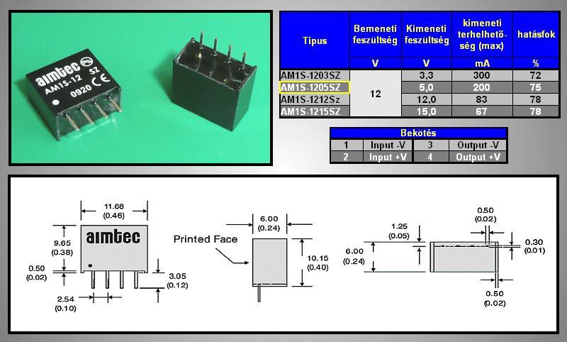 DC/DC átalakító be: 12V ki: 5V 200mA DC12-05S/1W
