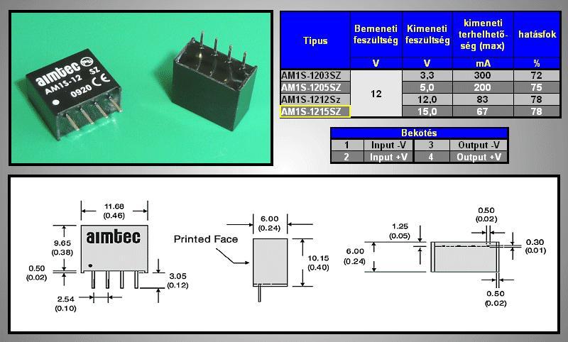 DC/DC átalakító be: 12V ki: 15V 67mA DC12-15S/1W
